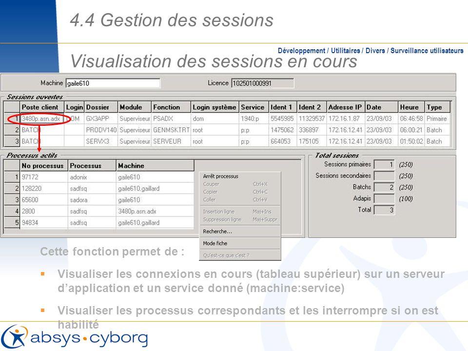 Visualisation des sessions en cours