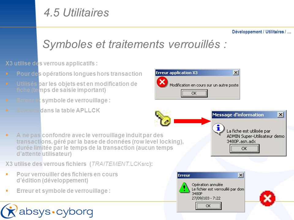 Symboles et traitements verrouillés :