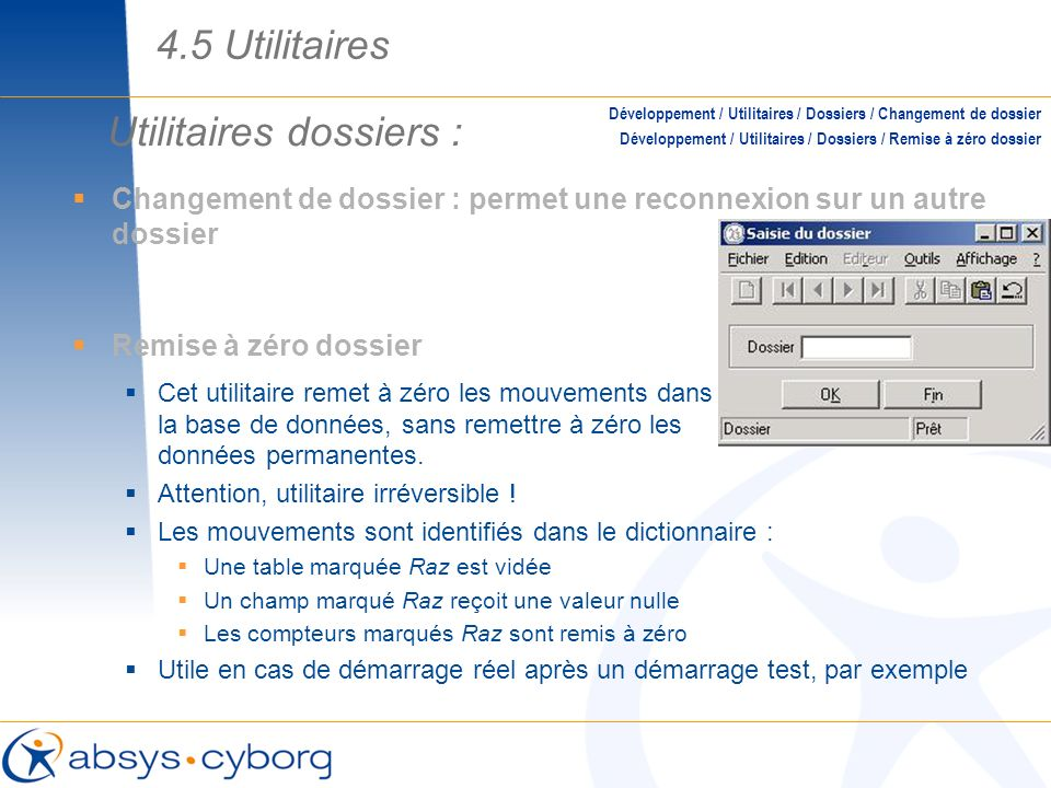 Utilitaires dossiers :