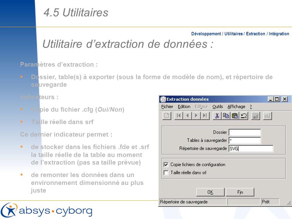 Utilitaire d'extraction de données :