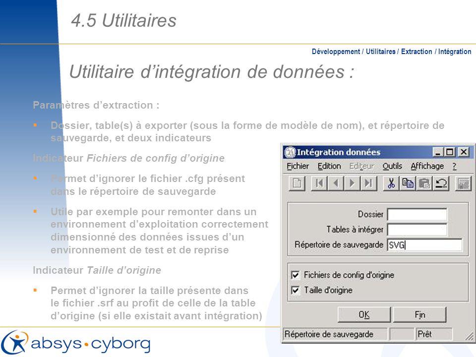 Utilitaire d'intégration de données :