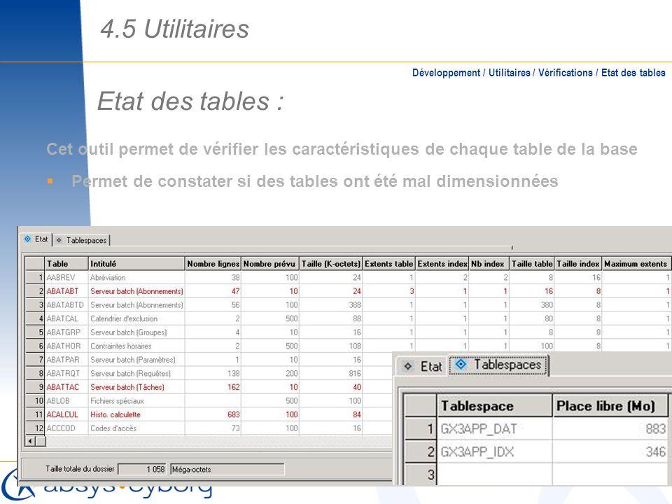 4.5 Utilitaires Etat des tables :