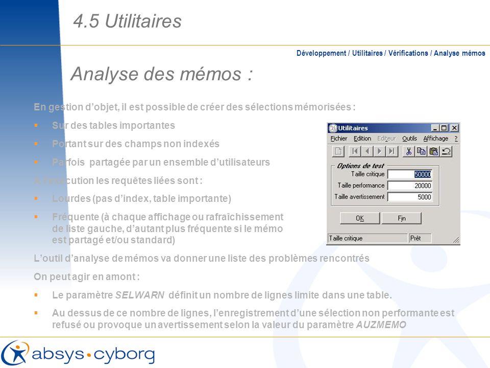 4.5 Utilitaires Analyse des mémos :