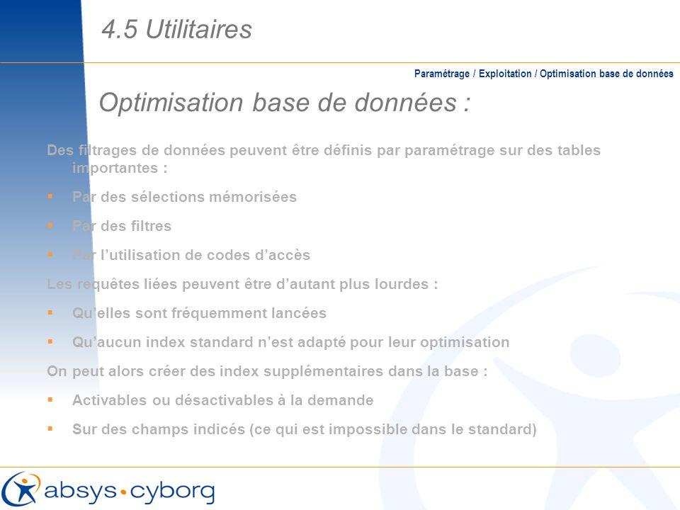 Optimisation base de données :