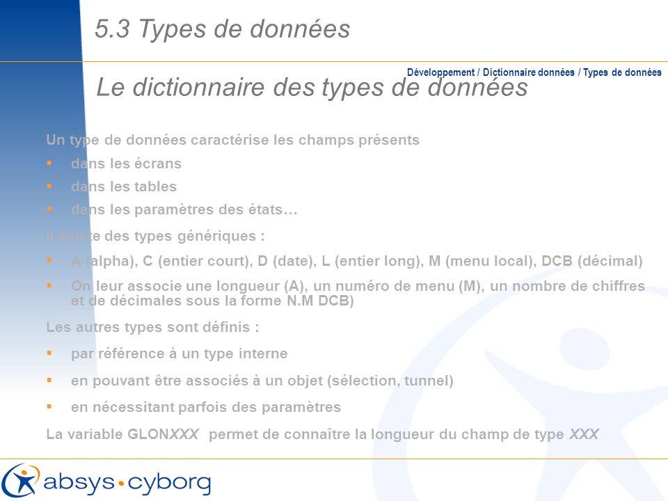 Le dictionnaire des types de données