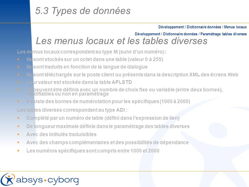 Les menus locaux et les tables diverses