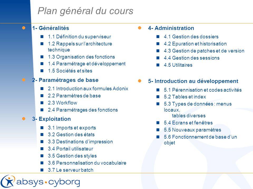 Plan général du cours 1- Généralités 2- Paramétrages de base