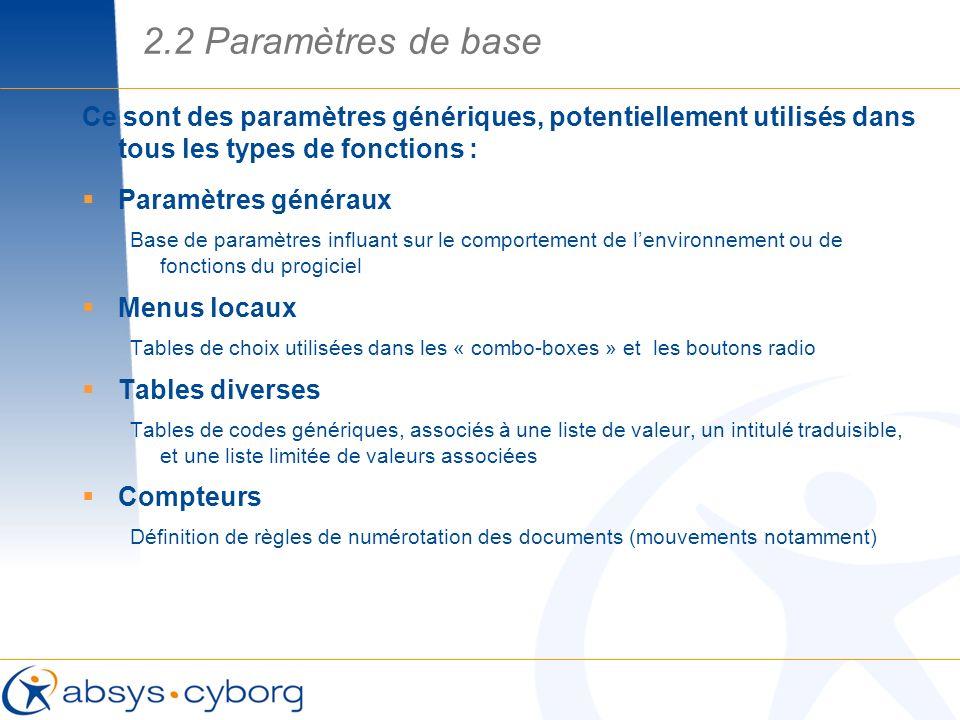 2.2 Paramètres de base Ce sont des paramètres génériques, potentiellement utilisés dans tous les types de fonctions :