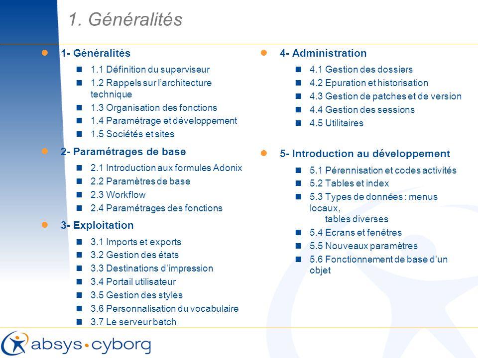 1. Généralités 1- Généralités 2- Paramétrages de base 3- Exploitation