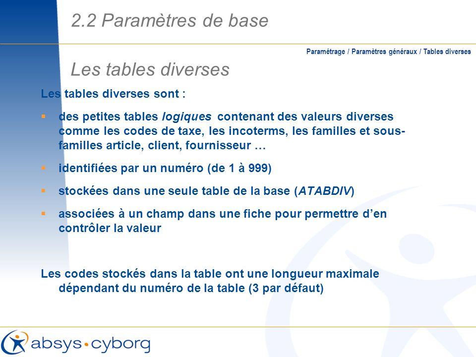 2.2 Paramètres de base Les tables diverses Les tables diverses sont :