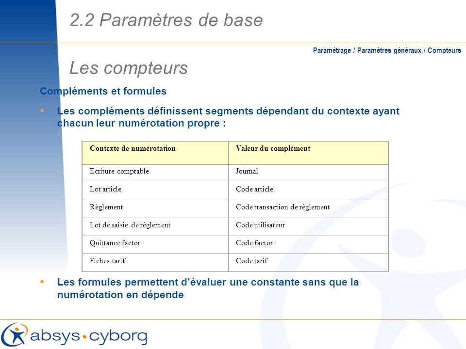 2.2 Paramètres de base Les compteurs Compléments et formules
