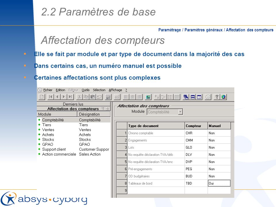 Affectation des compteurs