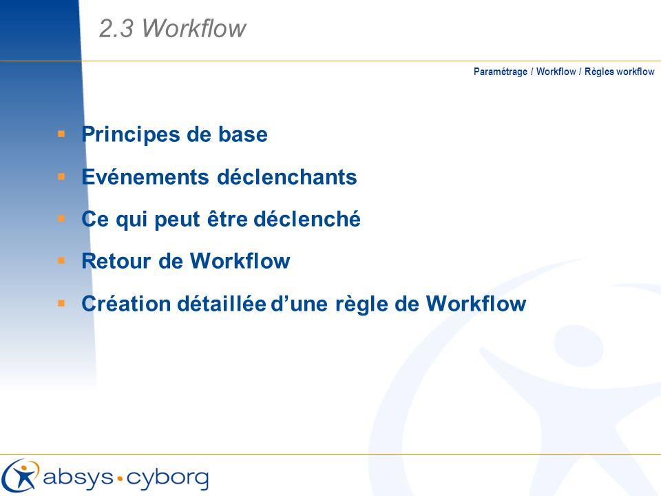 2.3 Workflow Principes de base Evénements déclenchants