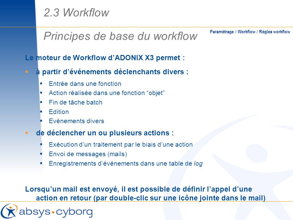 Principes de base du workflow