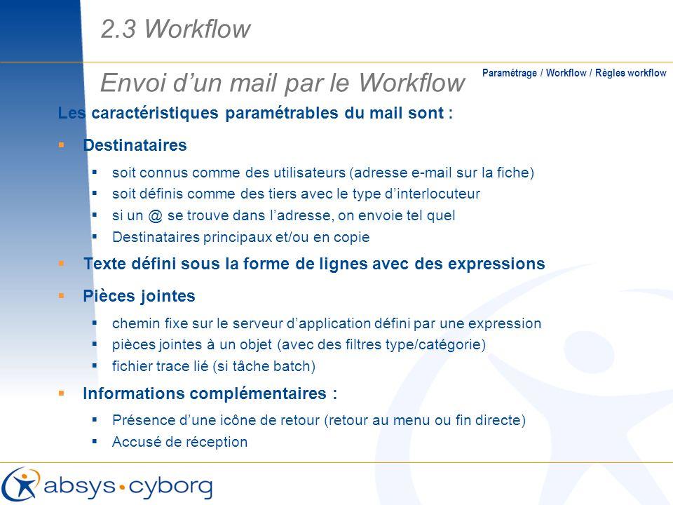 Envoi d'un mail par le Workflow