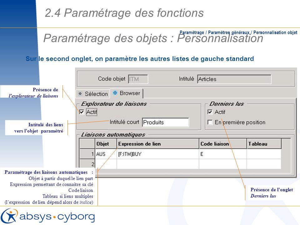 Paramétrage des objets : Personnalisation