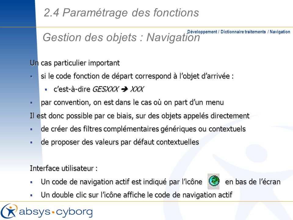 Gestion des objets : Navigation