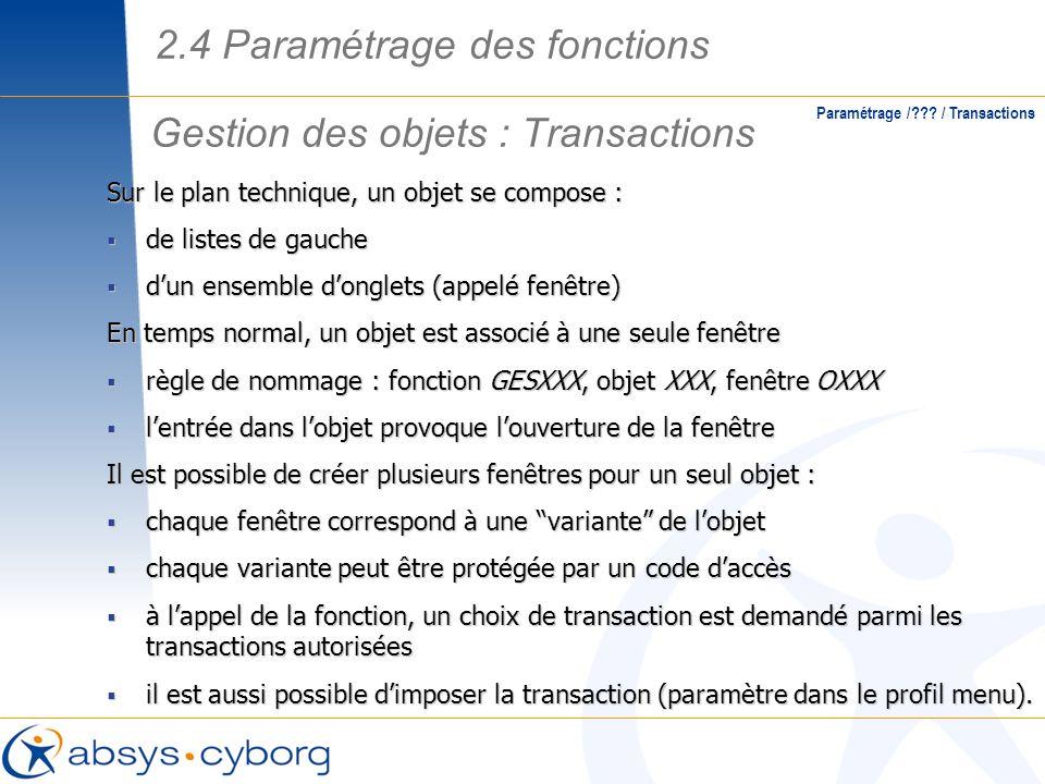 Gestion des objets : Transactions