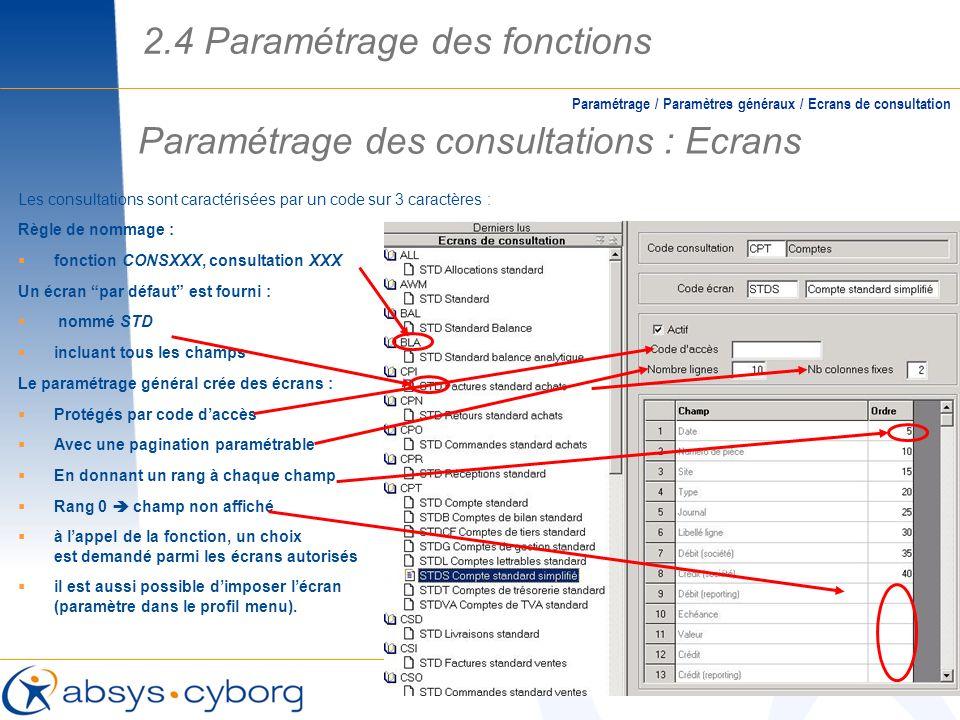 Paramétrage des consultations : Ecrans