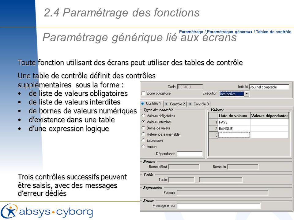 Paramétrage générique lié aux écrans