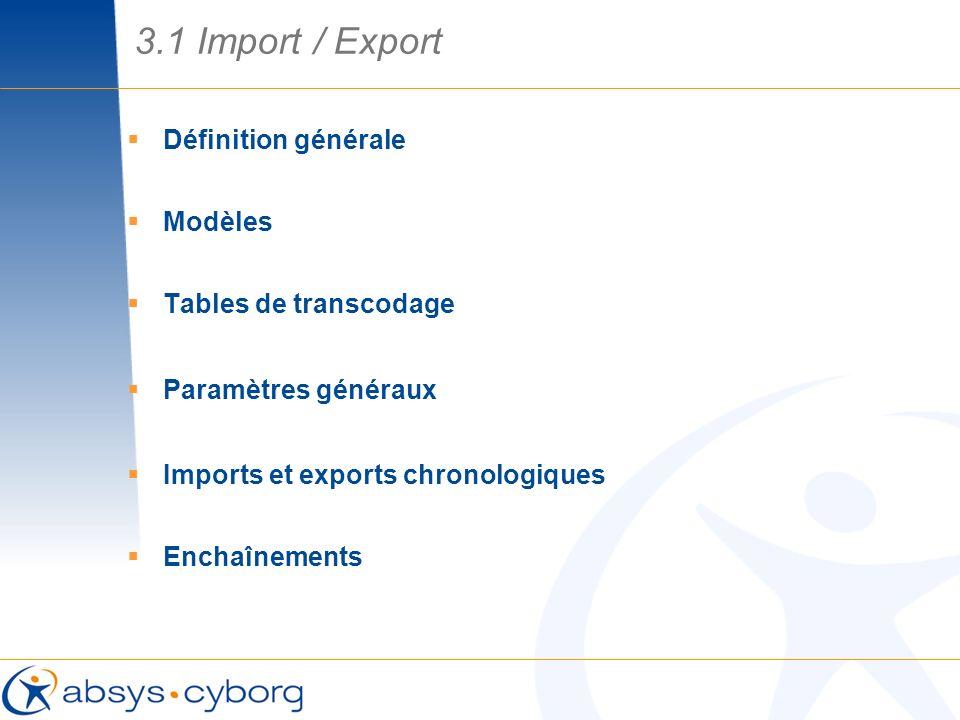 3.1 Import / Export Définition générale Modèles Tables de transcodage