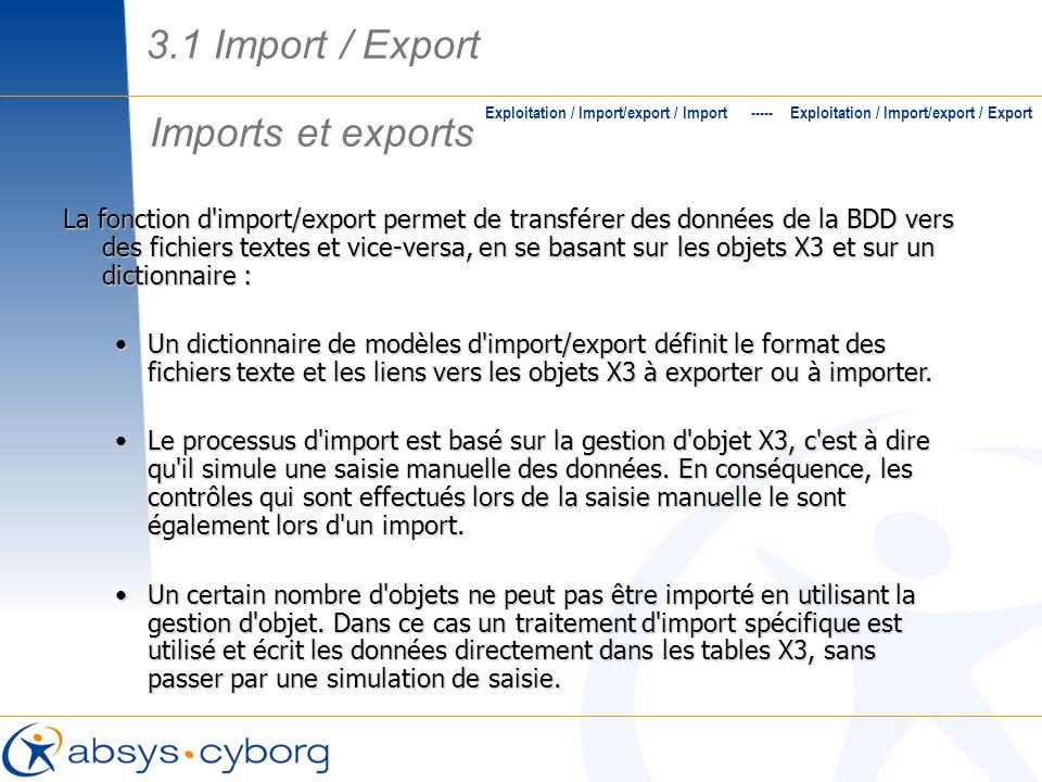 3.1 Import / Export Imports et exports