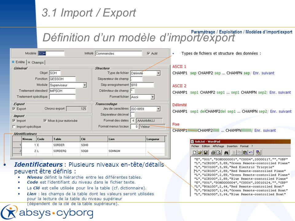 Définition d'un modèle d'import/export