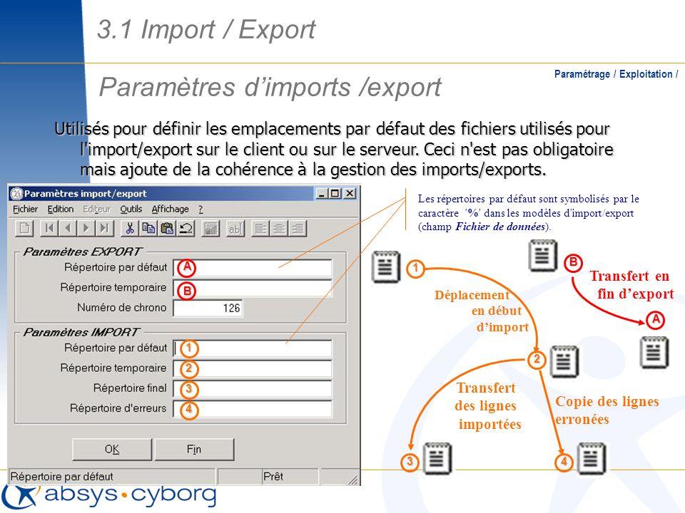 Paramètres d'imports /export