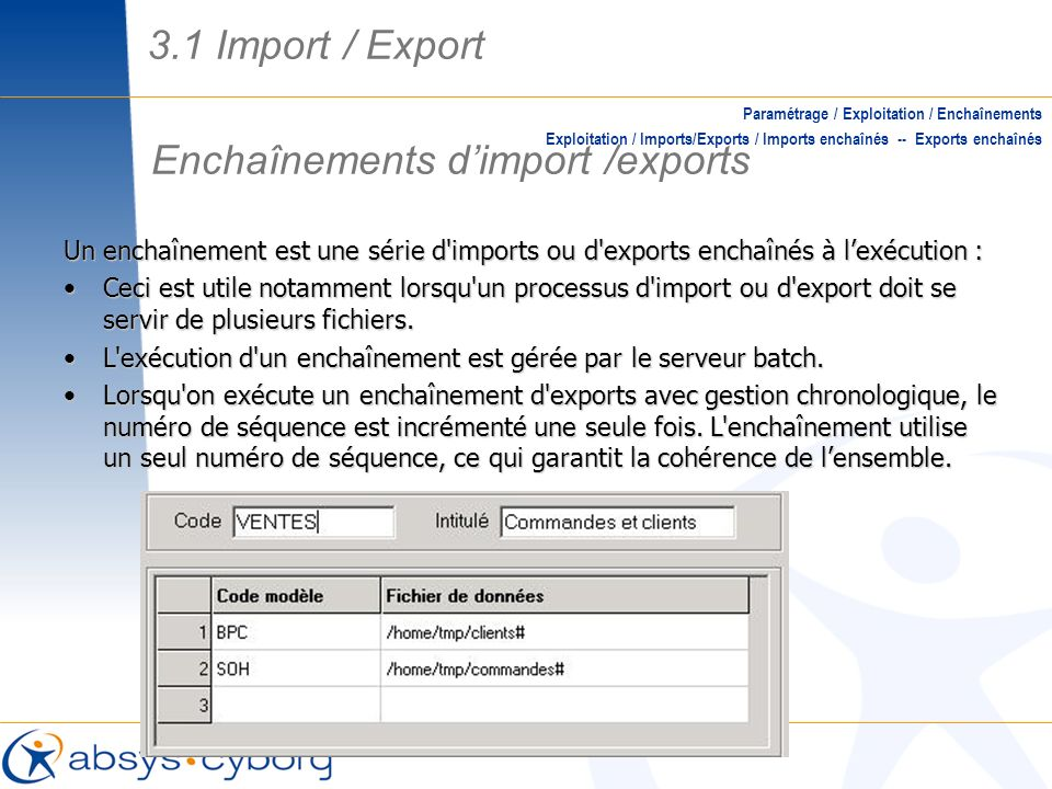 Enchaînements d'import /exports