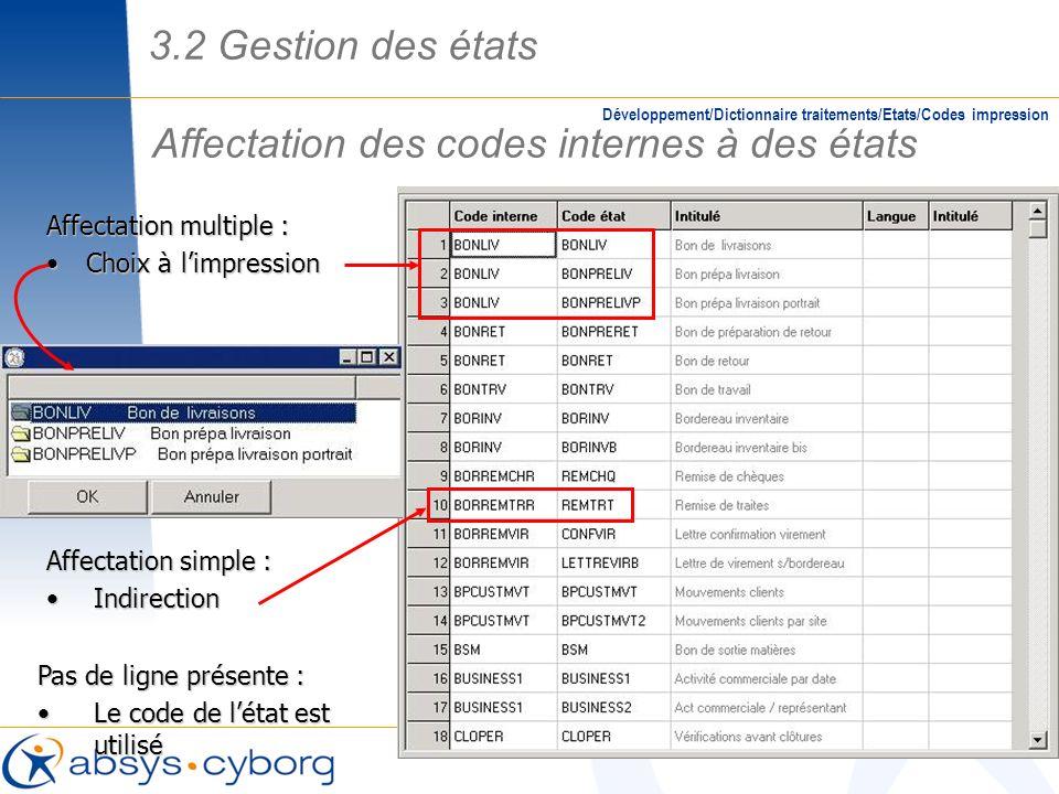 Affectation des codes internes à des états