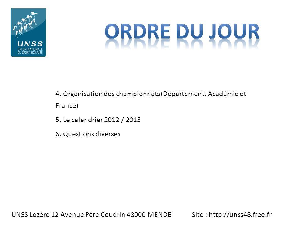 ORDRE DU JOUR 4. Organisation des championnats (Département, Académie et France) 5. Le calendrier 2012 / 2013.