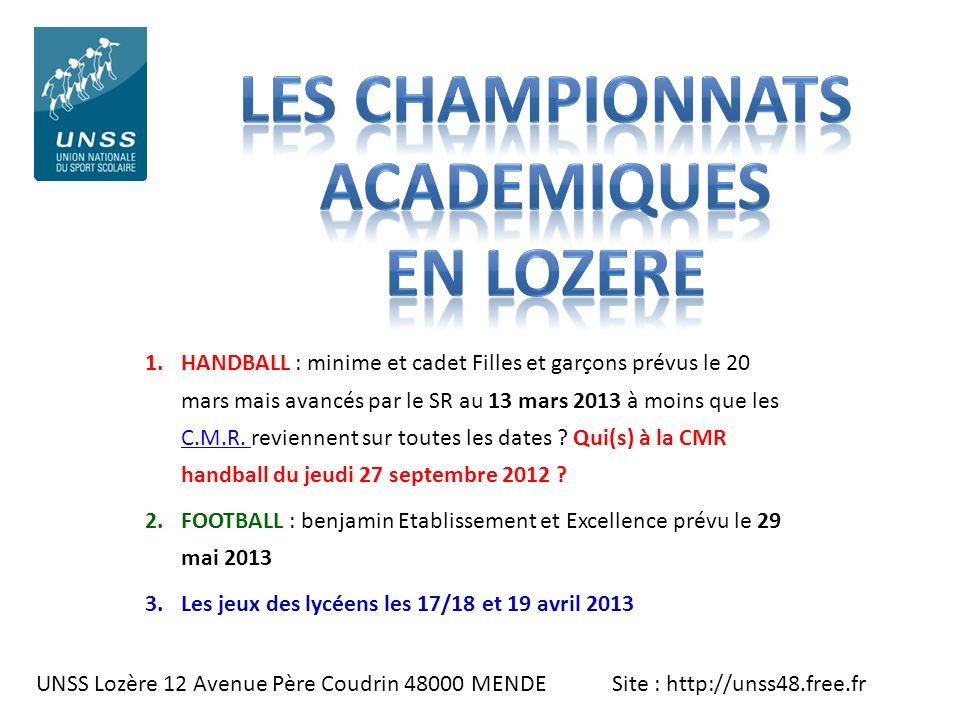 LES CHAMPIONNATS Academiques EN LOZERE