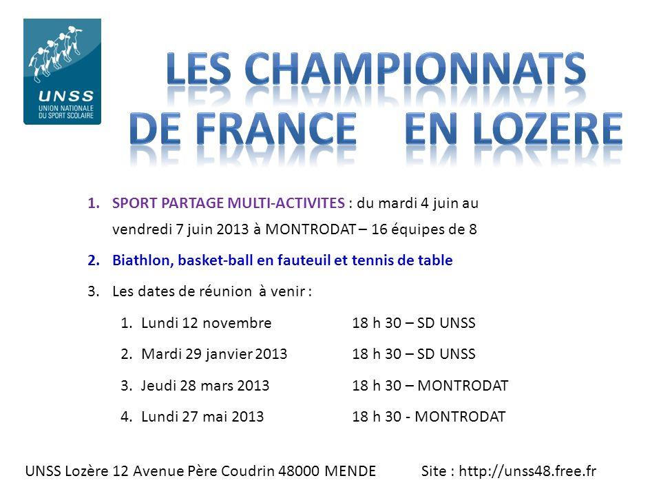 LES CHAMPIONNATS De France EN LOZERE