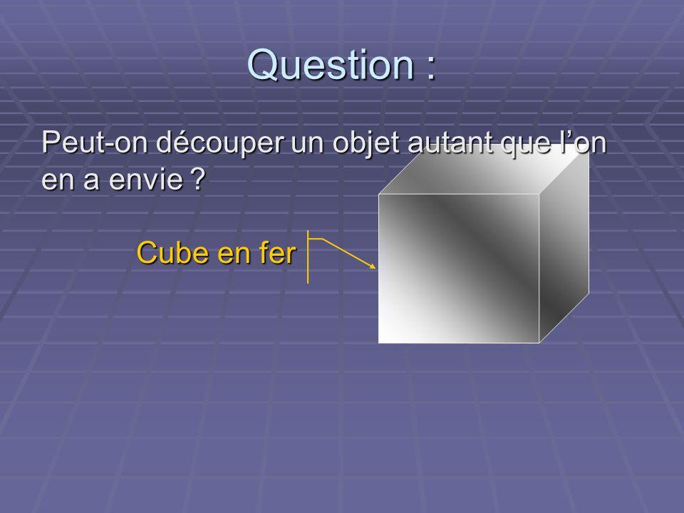 Question : Peut-on découper un objet autant que l'on en a envie