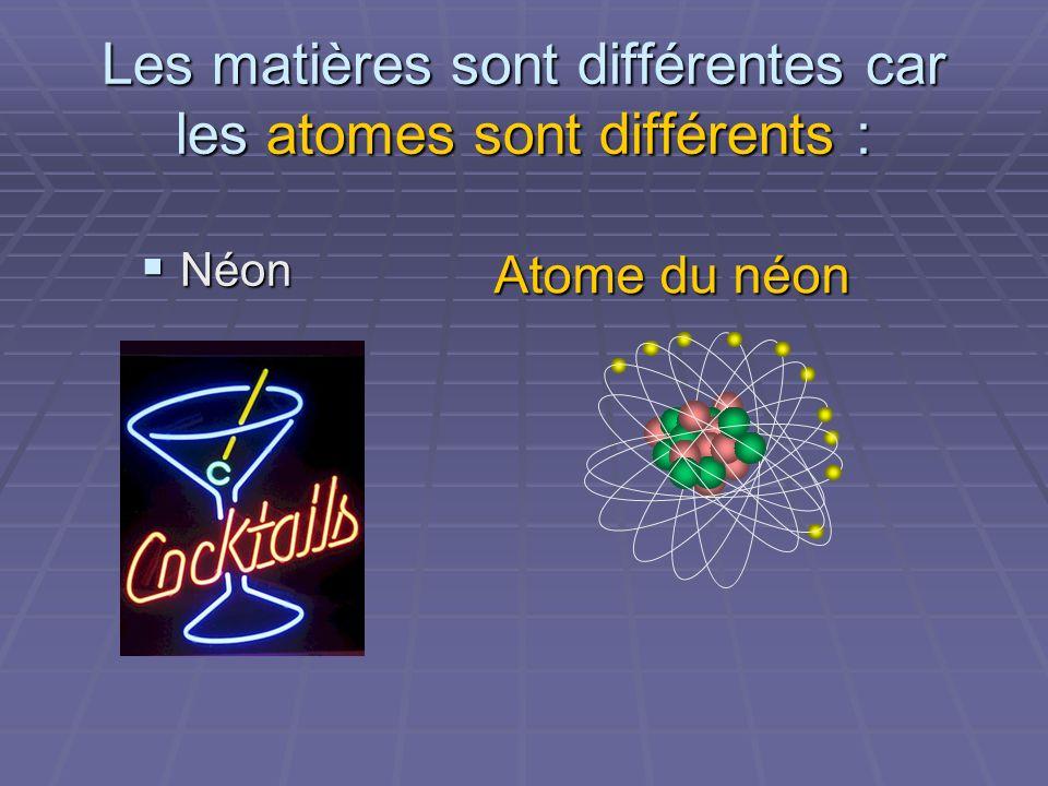 Les matières sont différentes car les atomes sont différents :