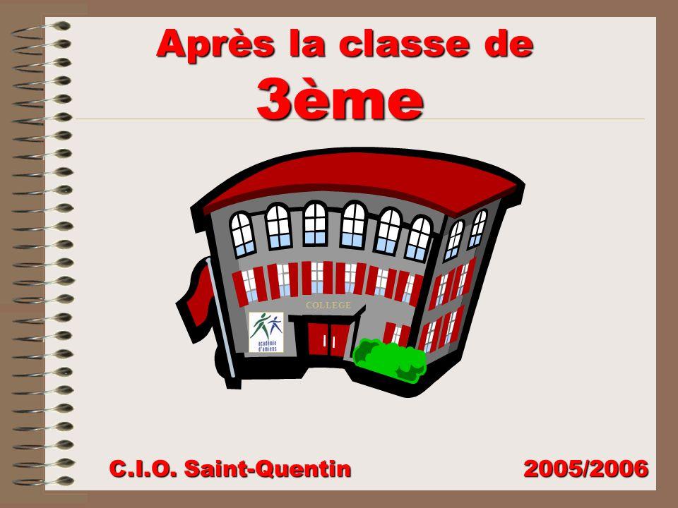Après la classe de 3ème COLLEGE C.I.O. Saint-Quentin 2005/2006