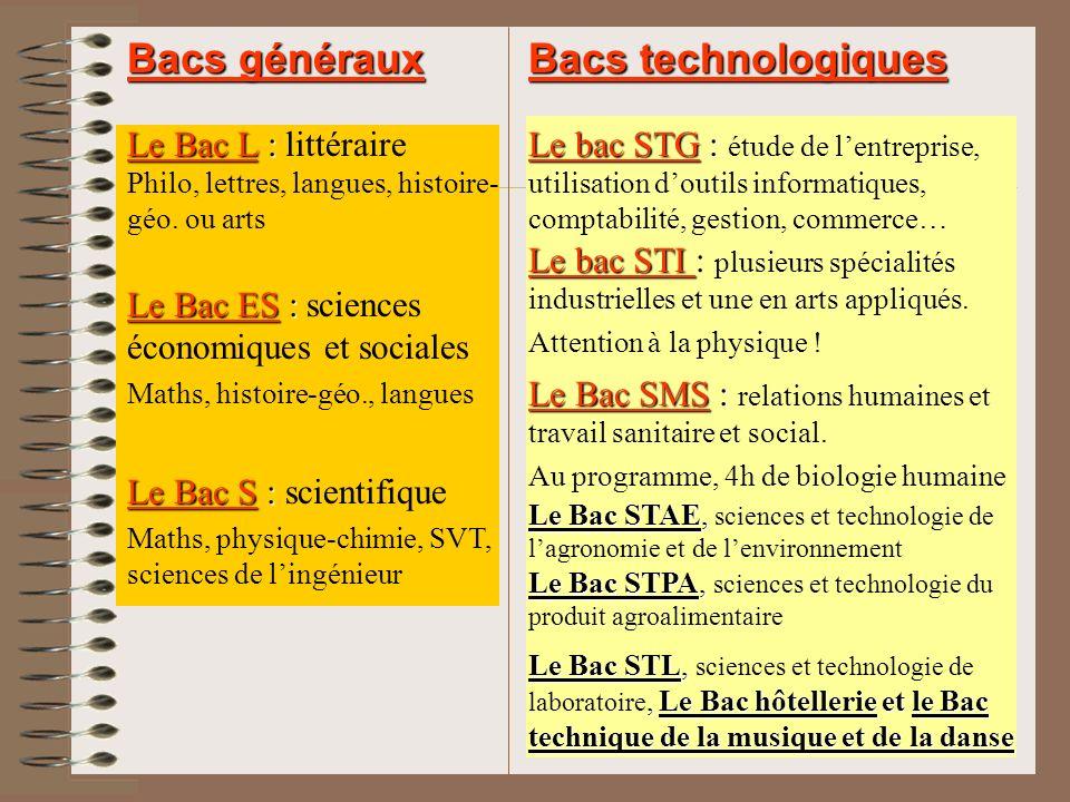 Bacs généraux Bacs technologiques Le Bac S : scientifique