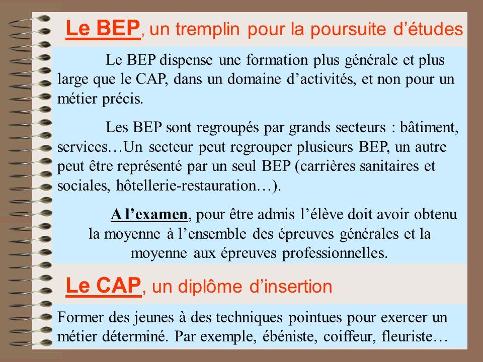 Le BEP, un tremplin pour la poursuite d'études