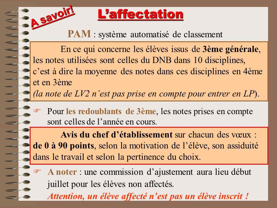 L'affectation A savoir! PAM : système automatisé de classement