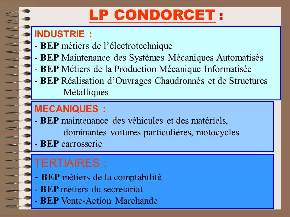 LP CONDORCET : TERTIAIRES : - BEP métiers de la comptabilité