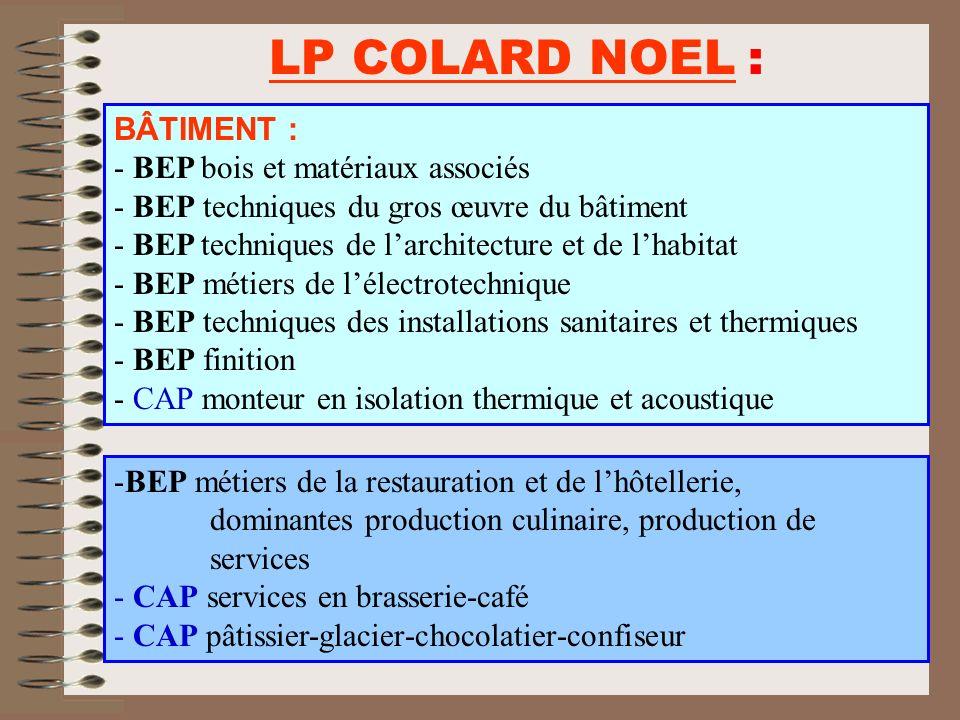 LP COLARD NOEL : BÂTIMENT : BEP bois et matériaux associés