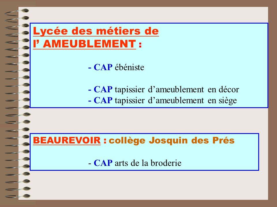 Lycée des métiers de l' AMEUBLEMENT :