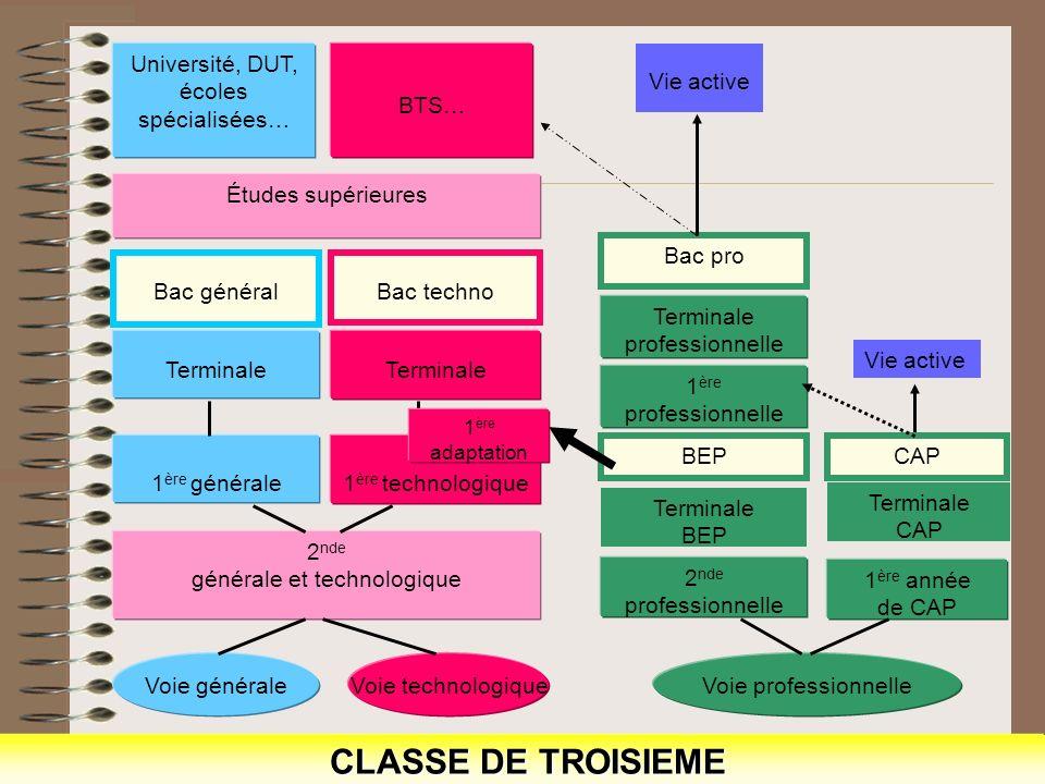 CLASSE DE TROISIEME Voie générale Voie technologique