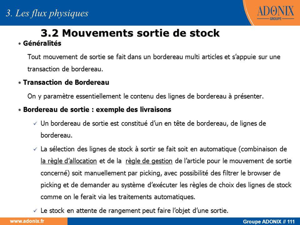 3.2 Mouvements sortie de stock