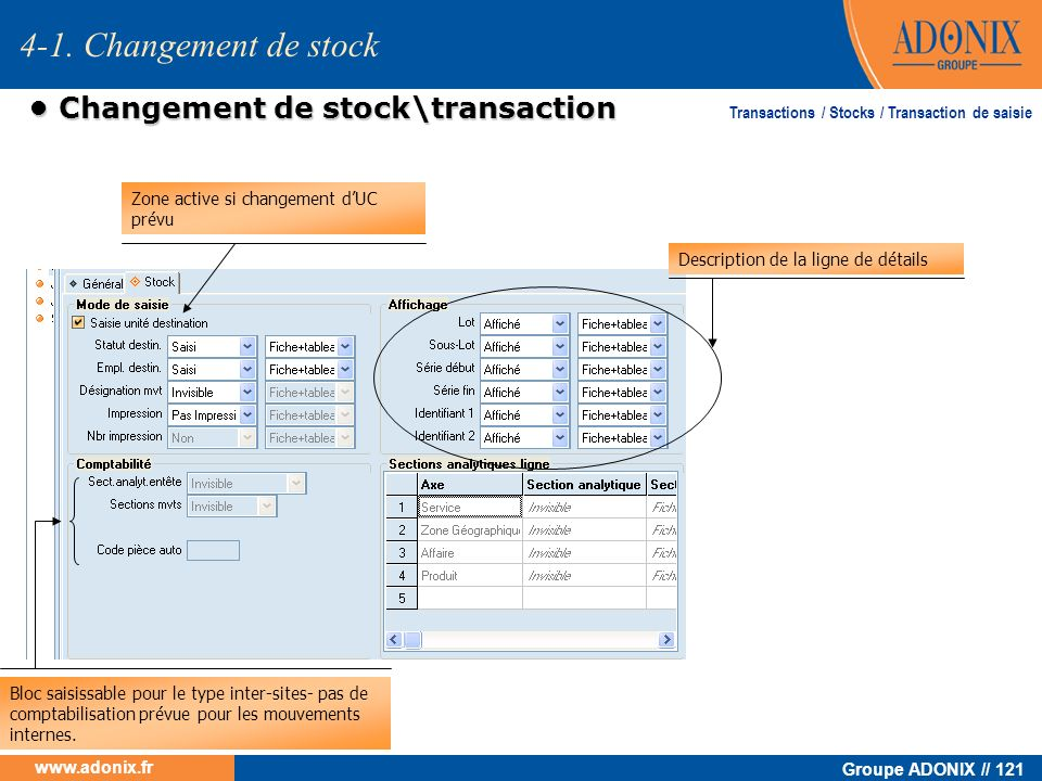 • Changement de stock\transaction