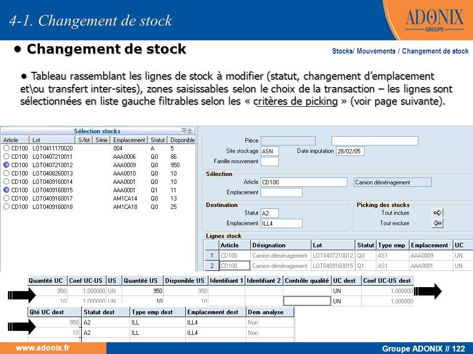 4-1. Changement de stock • Changement de stock