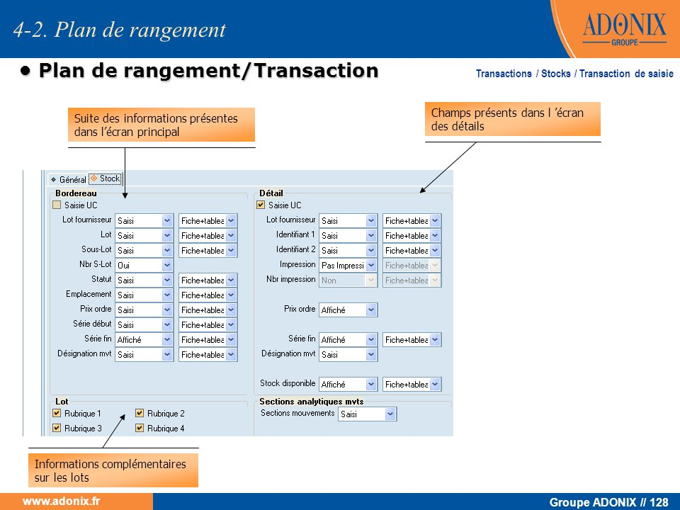 • Plan de rangement/Transaction