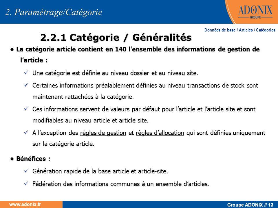 2.2.1 Catégorie / Généralités