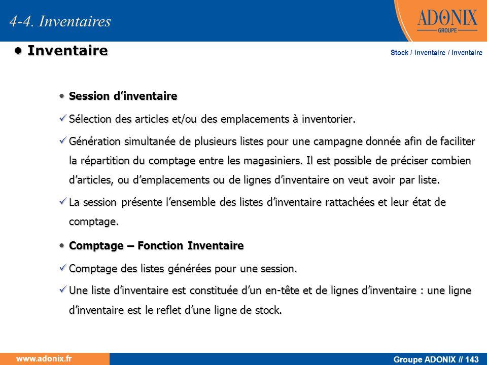 4-4. Inventaires • Inventaire • Session d'inventaire