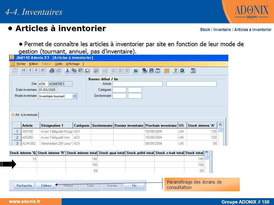 • Articles à inventorier